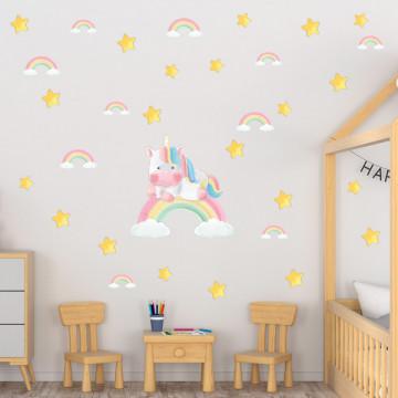 Set stickere decorative perete copii - Unicornul pe curcubeu, 60x90cm