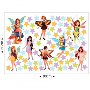 Set stickere decorative perete copii - Zane cu stelute 60x90cm