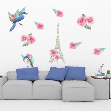 Set stickere decorative perete - Flori & Turnul Eiffel & Pasari, 60x90cm