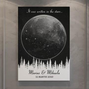 """Tablou Canvas personalizat """"Harta Stelelor"""" - Luna peste padure"""