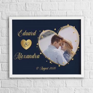 Tablou personalizat cu o poza in forma de inima, nume si data