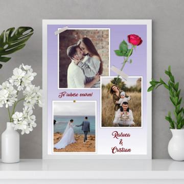 Tablou personalizat cu trei poze, nume si mesaj