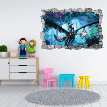 3D Sticker perete 60x90cm -  How to train your dragon 2