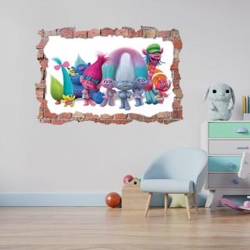3D Sticker perete 60x90cm - Trolls