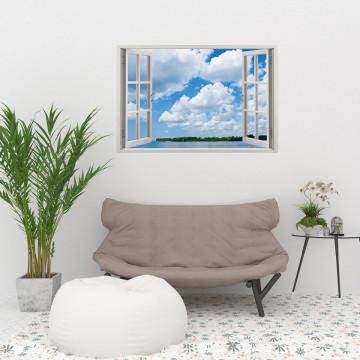 Fereastra 3D, Sticker perete - Peisaj cu cer senin
