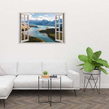 Fereastra 3D, Sticker perete - Peisaj cu fluviu si munte