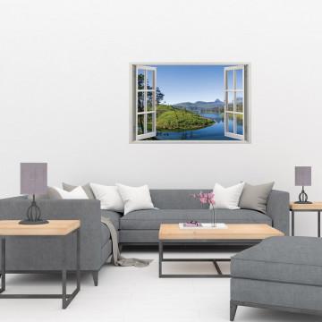 Fereastra 3D, Sticker perete - Peisaj cu lac