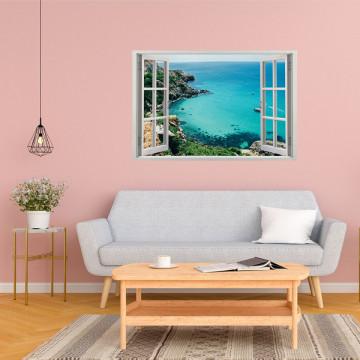 Fereastra 3D, Sticker perete - Peisaj cu ocean