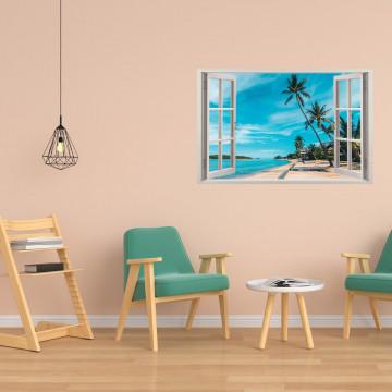 Fereastra 3D, Sticker perete - Peisaj cu plaja exotica