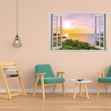 Fereastra 3D, Sticker perete - Peisaj cu rasarit