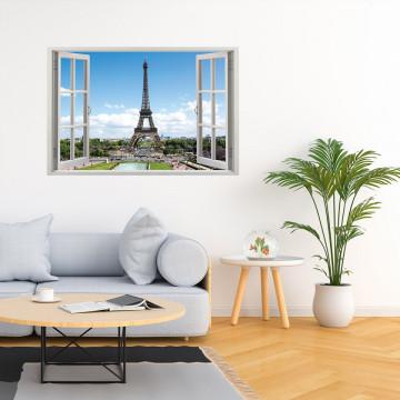 Fereastra 3D, Sticker perete - Peisaj cu Turnul Eiffel
