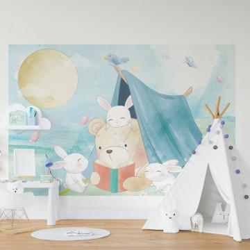 Fototapet autoadeziv copii - Ursuletul in cort