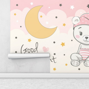 Fototapet autoadeziv copii - Ursuletul roz