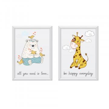 Set 2 tablouri - Ursuletul&Girafa