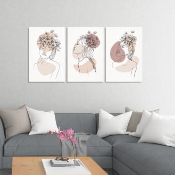 Set 3 Tablouri Canvas, Fata cu Flori