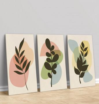 Set 3 Tablouri Canvas, Leaves