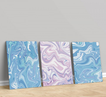Set 3 Tablouri Canvas, Liquid marble