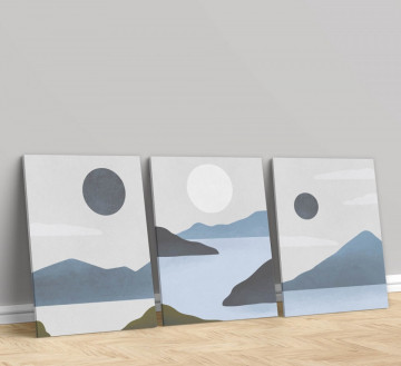 Set 3 Tablouri Canvas, The ocean and the moon