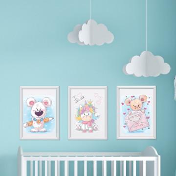 Set 3 tablouri - Unicornul & Ursuletii