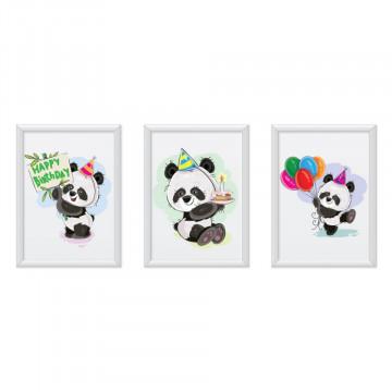 Set 3 tablouri - Ursuletii Panda Happy Birthday