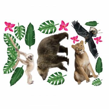 Set stickere decorative perete copii - Animalele Junglei 4 , 60x90cm