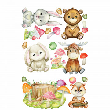 Set stickere decorative perete copii - Animalele Padurii2 , 60x90 cm