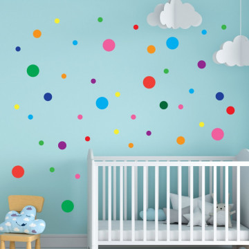 Set stickere decorative perete copii - Cercuri colorate 40x60