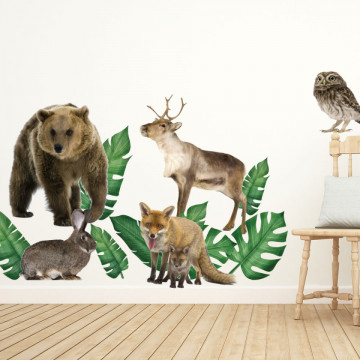 Set stickere decorative perete copii - Forest Animals 9 , 60x90cm