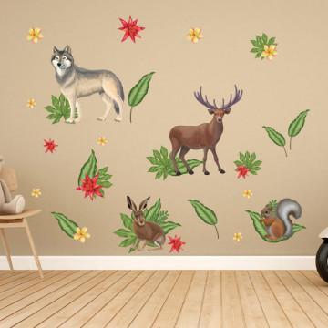 Set stickere decorative perete copii - Forest Animals1 , 60x90cm