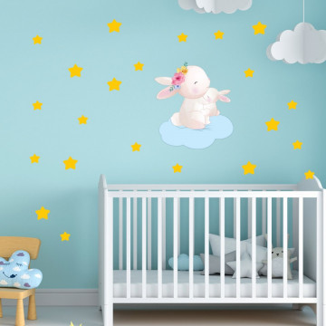 Set stickere decorative perete copii - Iepurasii pe norisor 60x90