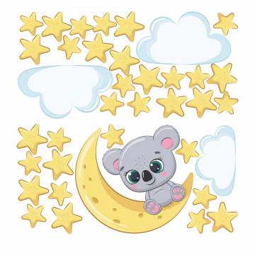 Set stickere decorative perete copii - Koala pe luna, 60x60 cm