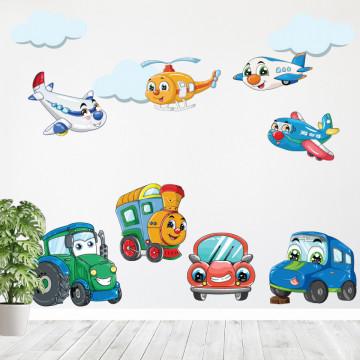 Set stickere decorative perete copii - Masinute, 60x90 cm
