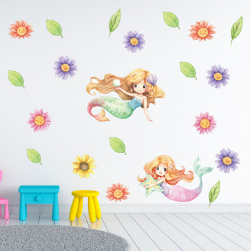 Set stickere decorative perete copii - Mica Sirena, 60x90cm
