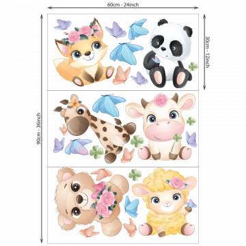 Set stickere decorative perete copii - Pui de animale2, 60x90cm