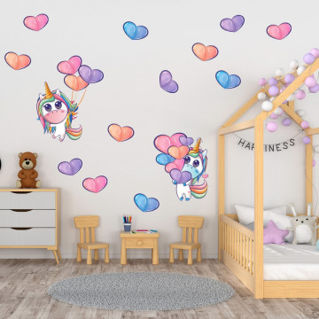 Set stickere decorative perete copii - Unicorn & inimioare