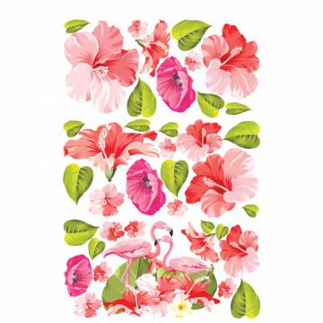 Set stickere decorative perete - Flori & Flamingo, 60x90cm