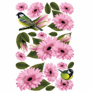 Set stickere decorative perete - Flori roz & Pasarele, 60x90cm