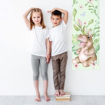 Sticker perete Masurator pentru copii - Micul Hipopotam, 40x120 cm