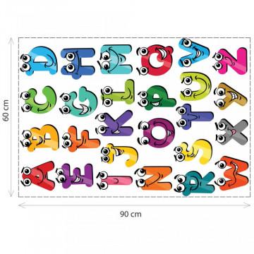 Stickere Educationale copii - Alfabetul cu ochi, set 60x90cm
