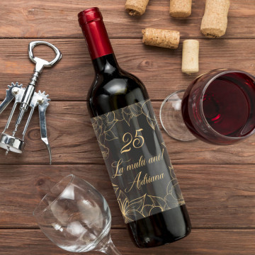 Sticla vin Personalizata - La multi ani