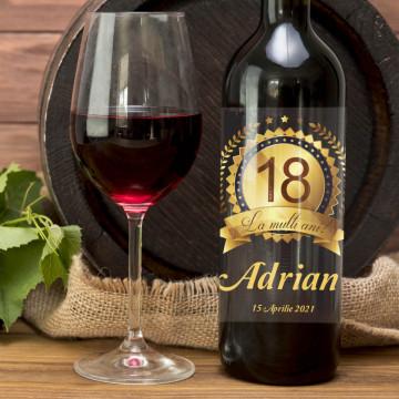 Sticla vin Personalizata - Numar de ani, mesaj, nume si data