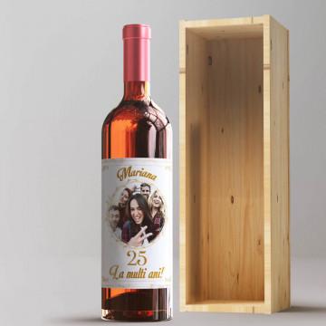 Sticla vin Personalizata - Nume, poza, ani si mesaj