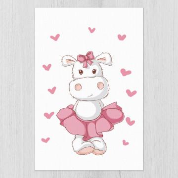 Tablou - Hipopotamul cu fustita si inimioare