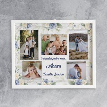 Tablou personalizat cu cinci poze , nume de familie si text