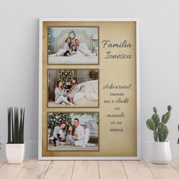 Tablou personalizat cu trei poze, nume de familie si mesaj