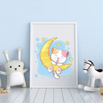 Tablou - Pisicuta pe luna