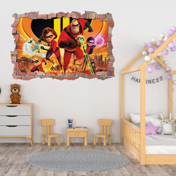 3D Sticker perete 60x90cm - The Incredibles