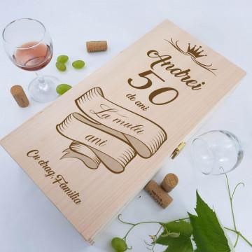 Cutie de vin dubla personalizata - La multi ani