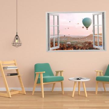 Fereastra 3D, Sticker perete - Peisaj cu baloane cu aer cald