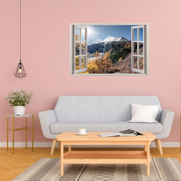 Fereastra 3D, Sticker perete - Peisaj cu munte inzapezit